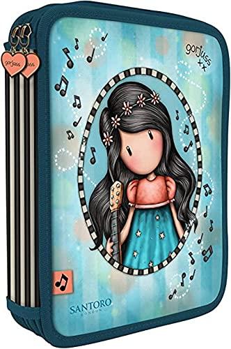 ASTUCCIO SCUOLA compatibile con Santoro Gorjuss London 2 PIANI COMPLETO ZIP This One's For You questo è per te Bambina con chitarra + Omaggio penna paillettes 6 colori in 1 + portachiave paillettes