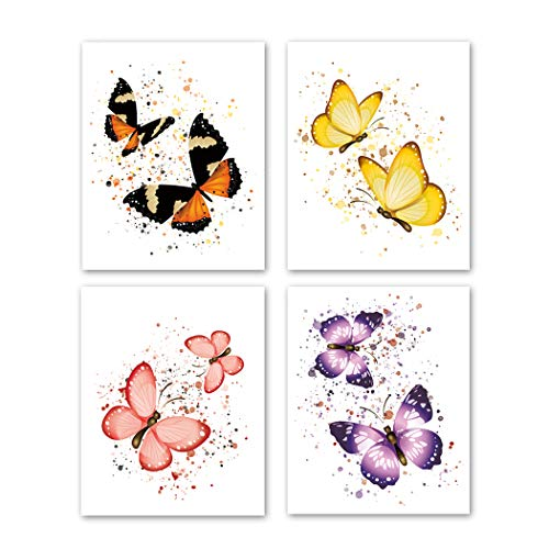 Unframed Butterflies Art Print, Colorful Splatter Polka Dots Painting,Set of 4(8' x10' ) Watercolor Flying Animal Canvas Wall Art Posters For Girls Bedroom Nursery Home Decor