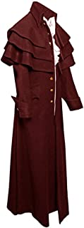 Men Coats QUINTRA Steampunk Retro Ruffled Long Sleeve Button Long Coat Medieval Steampunk Gothic Outerwear Overcoat Outerc...