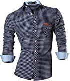 jeansian Men Slim Button Down Long Sleeves Dress Shirt 8615 Navy M