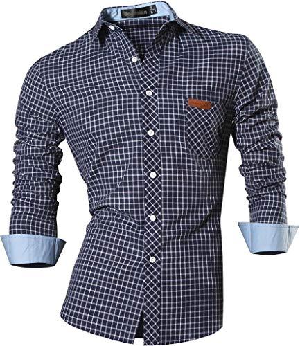 jeansian Herren Freizeit Hemden Slim Long Sleeves Casual Shirts Dress Shirts Tops (USA L, 8615_Navy)