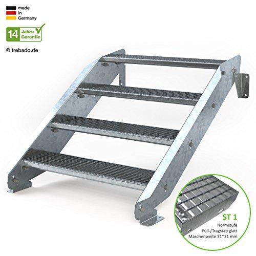 Außentreppe 4 Stufen 90 cm Laufbreite - ohne Geländer - Anstellhöhe variabel von 62 cm bis 84 cm - Gitterroststufe ST1 - feuerverzinkte Stahltreppe mit 900 mm Stufenlänge als montagefertiger Bausatz