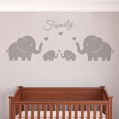Los padres de familia y cuatro elefantes gemelos de pegatinas de pared corazones del amor palabras de etiquetas de la pared para mellizos Baby nursery room decor(pequeño, gris)