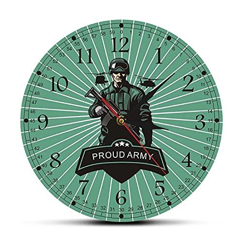 xinxin Reloj de Pared Ejército de Combate Soldado con Rifle Hombre Decorativo Reloj de Pared de Cueva Orgulloso Ejército Listo para la Guerra Arma Militar Decoración de Pared Reloj de Pared