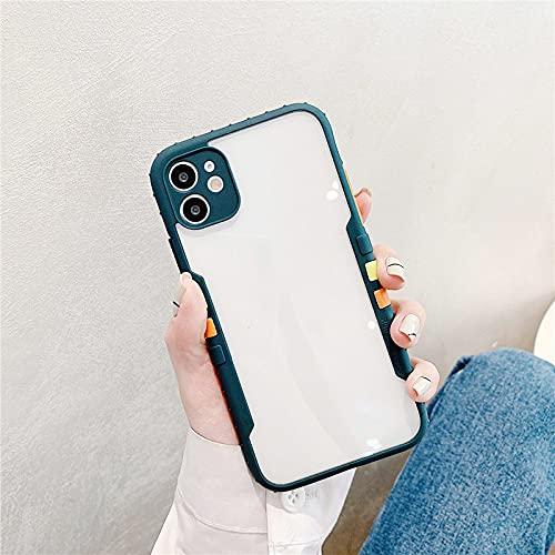 FYMIJJ Funda de acrílico para teléfono en Color contrastante, Color Puro, Simple y Elegante, Adecuada para Funda para teléfono iPhone12 Pro MAX iPhone 11 / XR, Verde Oscuro, para iPhone 6 6S Plus