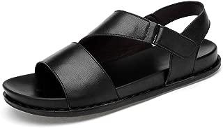 2019 Mens Sandals Black Walking Sandals Mens Hot Summer Slippers for Men Water Beach Sport Shoes Slip On Style Genuine Leather Hook&Loop Strap Open Toe