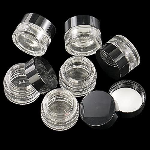 PPuujia Tarro de especias 30 tarros de cristal redondos transparentes de 5 ml, con revestimientos interiores y tapas, envases cosméticos vacíos, tarros de crema