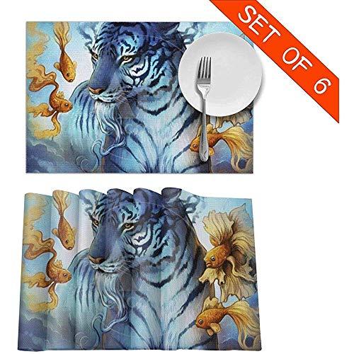 Aquarelle Artistique Tigre Goldfish Hippie Art Tapis De Table Ensemble De 6 Napperons Lavables Non-Slip Pour Table De Salle À Manger Cuisine Tapis, 45 X 30 Cm