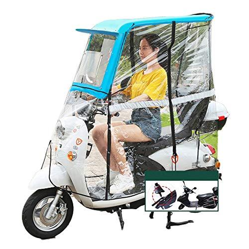 QYQYMJ Cubierta De Lluvia Scooter, Utilizada For Refugiarse De Viento Y Lluvia, Ventana Deslizante HD, Tres Estilos, Azul Fresco (Size : All Enclosed)