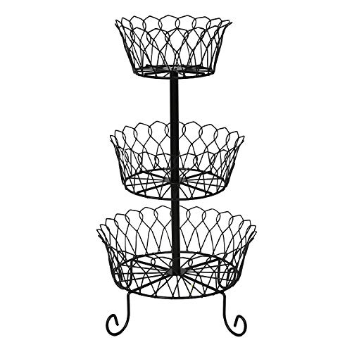 HOME DISTRICT 3-Tier Fruit Basket Stand - Footed Iron Wire Graduated Food Storage Bowls for Countertop and Dining Table