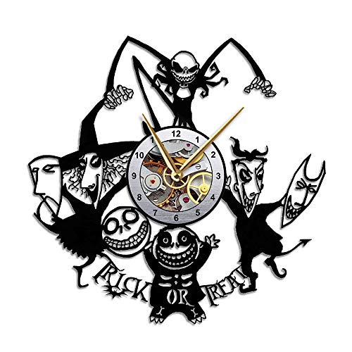 Nightmare Before Christmas Clock - Jack Skellington Gift Decor - Vinyl Record Wall Clock