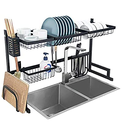 Dish Drying Rack Over Sink Kitchen Supplies Storage Shelf Countertop Space Saver Display Stand Tableware Drainer Organizer Utensils Holder Stainless Steel, Black by Ctystallove