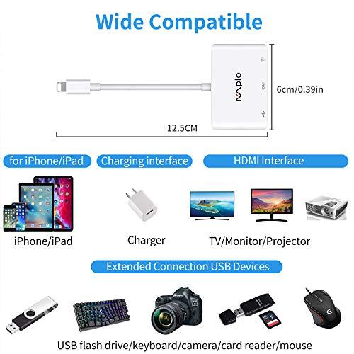 MPIO Lighting zu HDMI Adapter, 4 in1 Kamera OTG Kabel mit 2 USB Anschlüssen, Synchronisationsbildschirm für iPhone/iPad zu TV, Monitor, Projektor für iPhone 11/X /8/7/6s/6/5, iPad Mini/Air/Pro