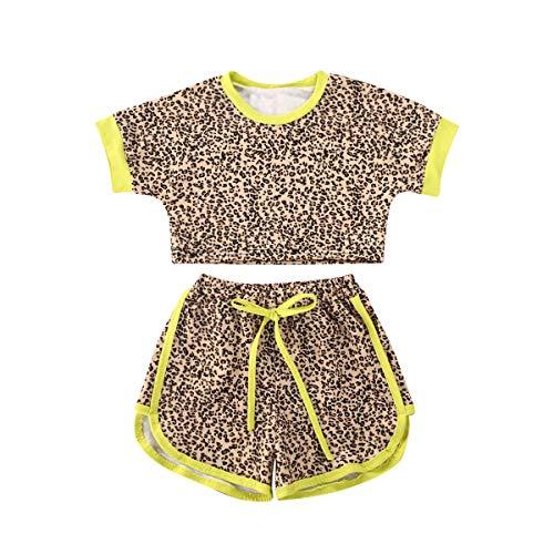 playera de manga larga con volantes para bebés recién nacidos y pantalones de guepardo, de color sólido, Guepardo C, 2 Años