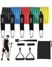Femor Weerstandsbanden Set 5 Resistance bands deuranker fitness elastiek met handvatten Elastiek voor sporten en thuis fitness