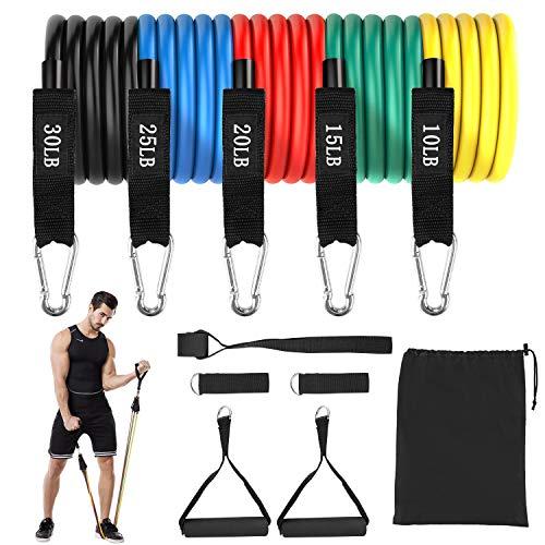 Femor Resistance Bands, set di fasce elastiche per fitness, 5 fasce di resistenza fino a 100 lbs, estensori con manici, cinghie per caviglia, ancoraggio per porta