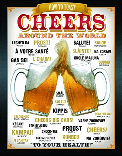 cheers to these bar gifts that will arrive before christmas Desperate Enterprises Cheers Around The World Tin Sign, 12.5