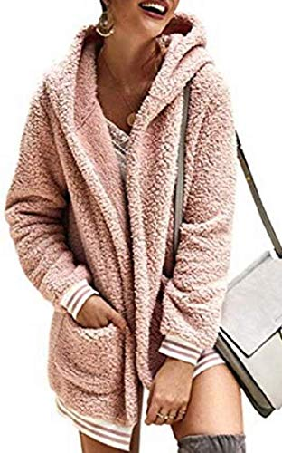 Womens Fall Winter Hoodie Cardigan Loose Oversized Sherpa Fuzzy Coat Outerwear