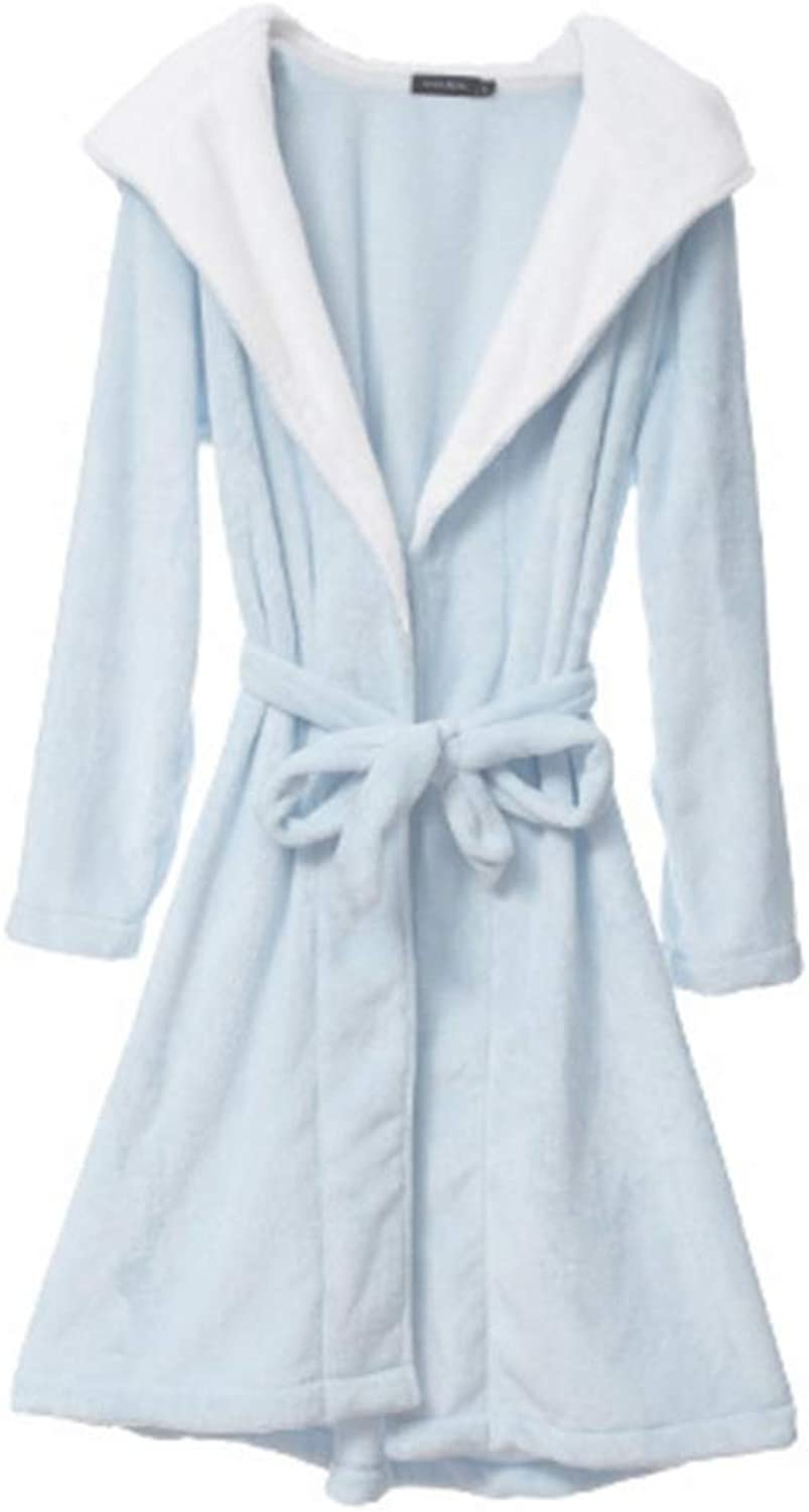 NAN Liang bluee Bathrobes Winter Thick Track Suits Women's Large Size Nightdress Hooded Home Service (Size   M)