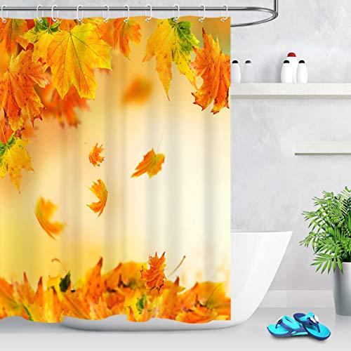LB Herbst Landschaft Duschvorhang Orange Ahorn Blätter Polyester Extra Lang Bad Gardinen Wasserdicht Anti Schimmel Badezimmer Deko Heimzubehör mit Vorhanghaken,150X180cm