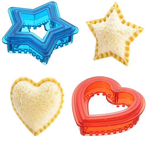 Uncrustables Sandwich Maker, Sandwich Cutter and Sealer for Kids, Cookie Bread Pancake Mold Press for Boys and Girls, Round & Heart & Star Shape Decruster Sandwich Maker(Heart+Star)