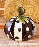 Small Metal Black and White Polka Dot Pumpkin