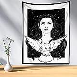 KHKJ Psicodélico Mujer Luna Tapiz Flor Colgante de Pared Habitación Cielo Alfombra Dormitorio Tapices Arte Decoración del hogar Tarot Tapiz A7 150x130cm