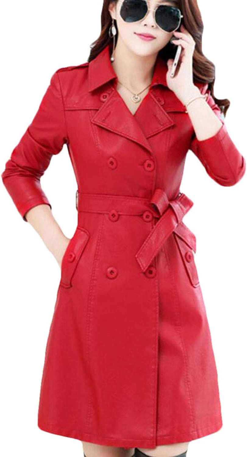 Fllay Women Quilted DoubleBreasted Faux Leather Casual Long Trench Coat