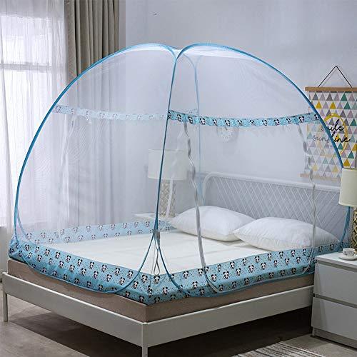 Pop-Up-Instalación completo gratis con gabinete Mosquitera, Cúpula de encaje Yurt cama con dosel, malla fina, plegable, puertas dobles, Apto para camas de 1,2 M a 2 m de ancho,B,135*200cm