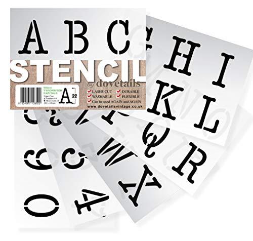 Dovetails Vintage Alphabet Schablonen Buchstaben, Zahlen 0–9 5cm hohe Typewriter Großbuchstaben auf 6 Blatt 20 x 14.8cm