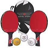 Nibiru Sport Ping Pong Paddles (Set of 2) - Table Tennis Racket Kit w/ 2 Rackets, 3...