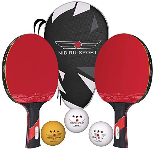 Nibiru Sport Ping Pong Paddles Set of 2  Table Tennis Racket Kit w/ 2 Rackets 3 Balls amp Portable Case  Professional Pingpong Paddle Outdoor Or Indoor Play