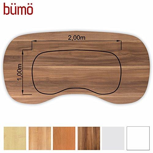 Bümö® stabile Tischplatte 2,5 cm stark - DIY Schreibtischplatte aus Holz | Bürotischplatte belastbar mit 120 kg | Spanholzplatte in vielen Formen & Dekoren| Platte für Büro, Tisch & mehr (Nierenform: 200 x 100 cm, Zwetschge)