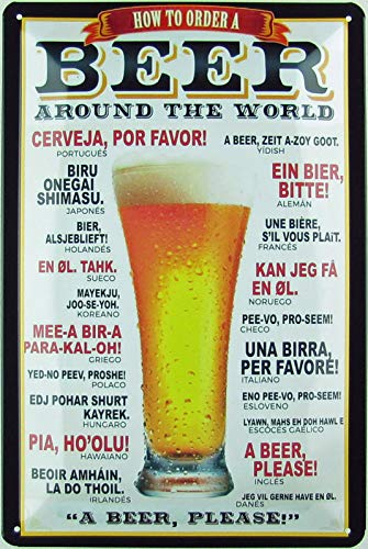 Generisch Blechschild 20x30 cm gewölbt Retro Bier How to Order Beer Geschenk Magnet-Metall-Schild mit Sprüchen Vintage lustige Türschilder Bier Nostalgie Schild Deko Bar-Schild Beer Motiv