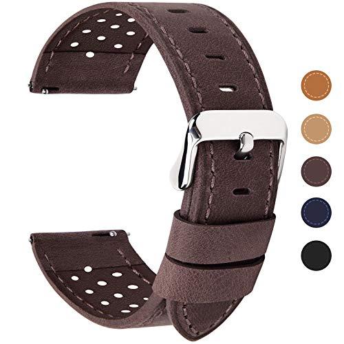 Fullmosa 22mm Café Bracelet Montre Homme Femme, Bracelet de Montre en Cuir de Veau à Dégagement Rapide Series Breeze