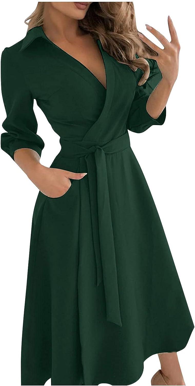Homecoming Dresses Women's Boho Midi Dresses Wrap V Neck Long Sleeve Split Long Maxi Dress Sundress
