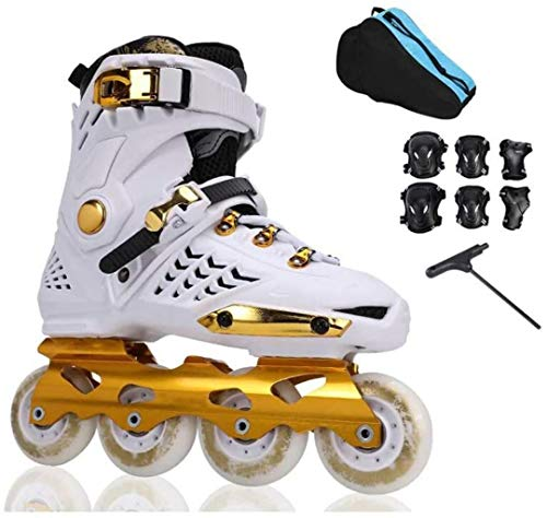 THMY Inline-Skates Professionelle Rollschuhe Anfänger-Rollerblades für Erwachsene Tägliches Skaten mit PU-Rädern ABEC-7-Lager aus Aluminiumlegierung, Gold, EU 41 / US 8 / UK 7 / JP 25,5 cm