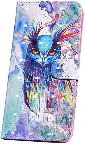 JAWSEU Kompatibel mit Schutzhülle Samsung Galaxy Note 10 Plus Hülle Handyhülle,Glitzer Bling 3D Muster PU Leder Hülle Flip Case Cover Brieftasche Case Tasche im Bookstyle Klapphülle,Aquarell Eule