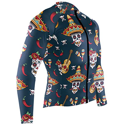 Men's Cycling Jersey Mexican Sugar Skulls with Chili Pepper Long Sleeve Riding Tops Bike Jacket
