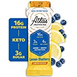 Atlas Protein Bar, Meal Replacement, Keto-Friendly Snack, Grass-Fed Whey, Organic Ashwagandha, Low Sugar, Low Carb, Gluten Free, 10 pack, Lemon Blueberry
