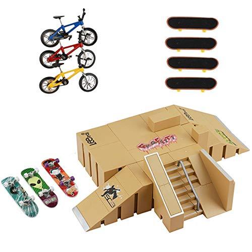 Skate Park Kit, Skate Park Kit Ramp Parts for Finger Skateboard Park Kit Part Training Props with 7 Finger Skateboard 3 Finger Bike (8PCS)