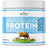 Multi Collagen Protein Powder - 5 Types of Food Sourced Collagen Peptides - Hydrolysed Grass Fed Bovine, Wild Caught Marine & Free-Range Chicken, Supports Joints, Skin and Nails, 200g