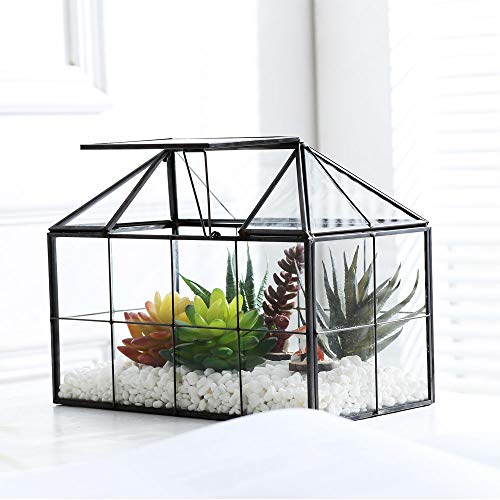 Purzest Glass Terrarium,House Shape Close Glass Geometric Terrarium Tabletop Succulent Plant Box Planter