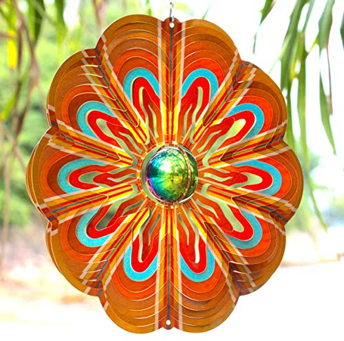 Art Jardin Wind Spinners Outdoor Metal | Garden Wind Spinner 12 Inch SS with Unique Mirror Ball for Yard | Outdoor Hanging 3D Decor for Patio or Porch