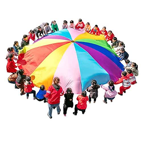 Juega paracaídas arco iris paracaídas juegos de paracaídas, juegos de jardín al aire libre, entrenamiento de integración sensorial para niños (tamaño: 8 m) (tamaño: 4 m)
