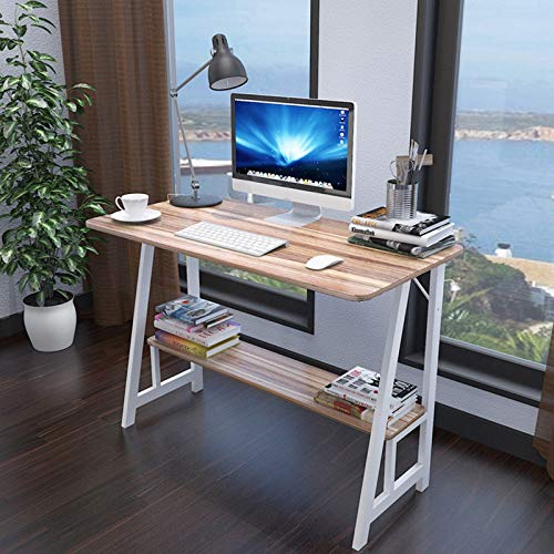 Small Computer Desk with Storage Shelf Bookshelf,31.5×19.7Inch Students Laptop Study Writing Table,Modern Simple Workstation Standing Desk for Bedroom/Conference/Living Room