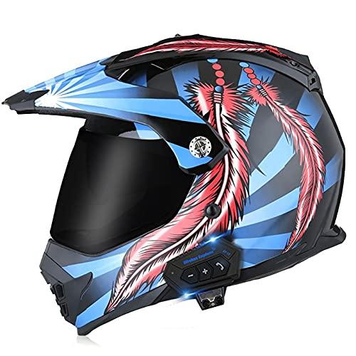 Bluetooth Casco de Motocross Adultos Casco de Cross Casco Moto Integral para MX Dirt Bike ATV Quad Enduro Downhill DH Off Road Scooter (Color : E, Size : XL(61-62CM))