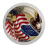 4PCS Pomo de armario,tirador para cajón,Pomos y Tiradores de Muebles,Pomos,pomos,para Puertas,Armarios de Cocina,Cajones - un solo agujero,Bandera de gloria americana con águila