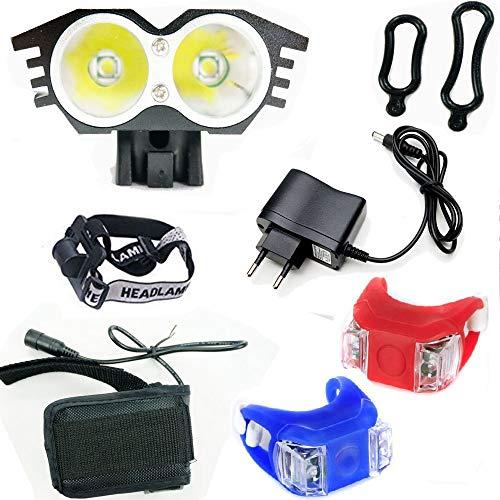 Wii Fire Linterna LáMPARA para bicicletas bici CREE XM-L U2 - Luz LED frontal para manillar de bicicleta (2 focos, 5000 Lumens, 4 modos) con 2 x Luz Luces Lámpara Trasera para Bici Bicicleta,100% de Satisfacción o Devolución del Dinero.