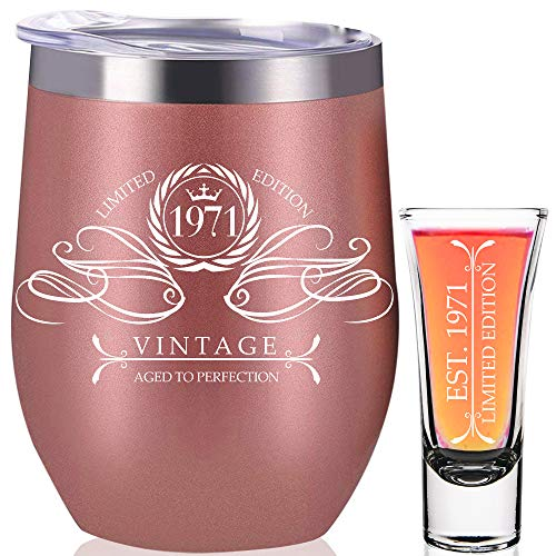 1971 50th Birthday Gifts For Women, 50th Birthday Decorations Present for Women, Funny Present Ideas Her Wife Mom, Rose Gold Wine Tumbler 12 oz Stainless Steel Insulated Shot Glass, 50 Anniversary